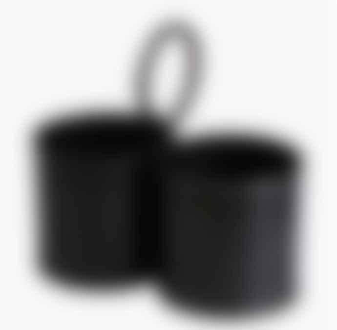 Black Metal Storage Pot - Double