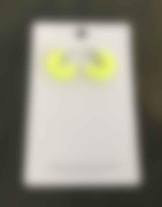 Big Metal Neon Resin Hoop Earrings - Yellow