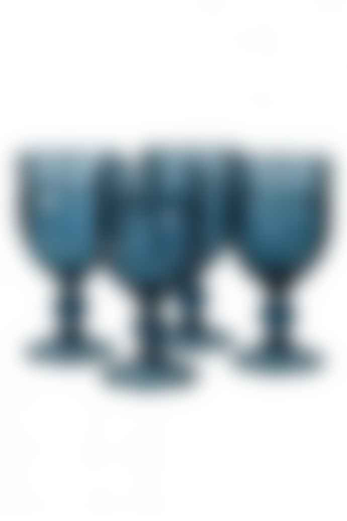 Sue Parkinson Home Collection Set Of 4 Blue Wine Goblets