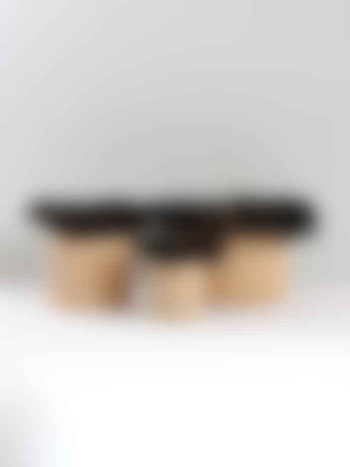 bon bon fistral Rafia Black Fringed Storage Pot Large