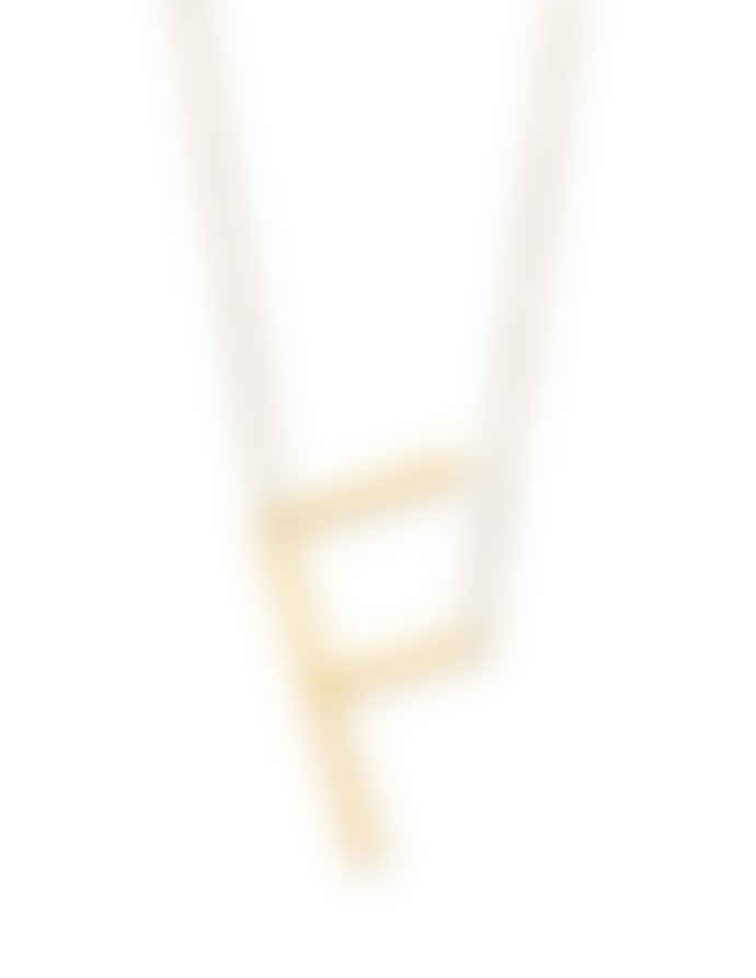 Nordic Muse Waterproof 18k Gold Initial Letter Pendant Necklace, F