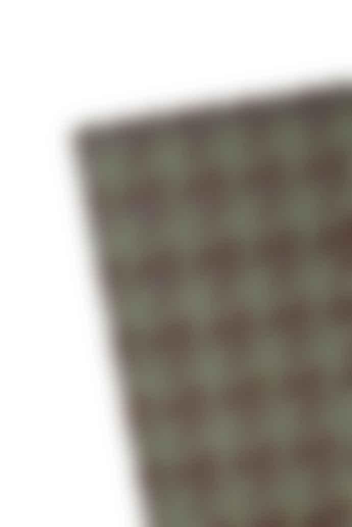 Navkar Bikaner Green And Chocolate Houndstooth Patterned Rug