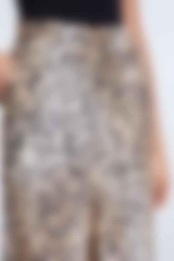 Set Fashion Beige Black Cheetah Print Culottes 69395