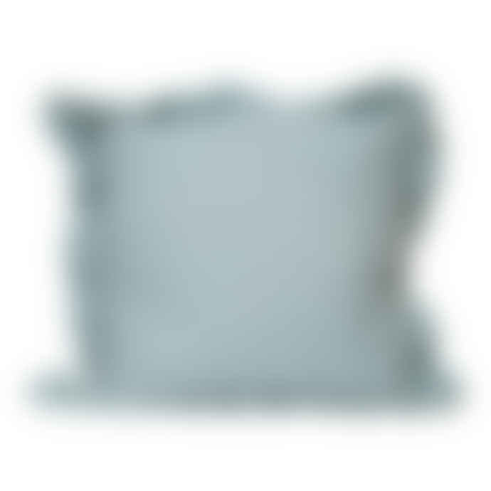 The Grey Works French Linen Cushion With A Frill In Aqua