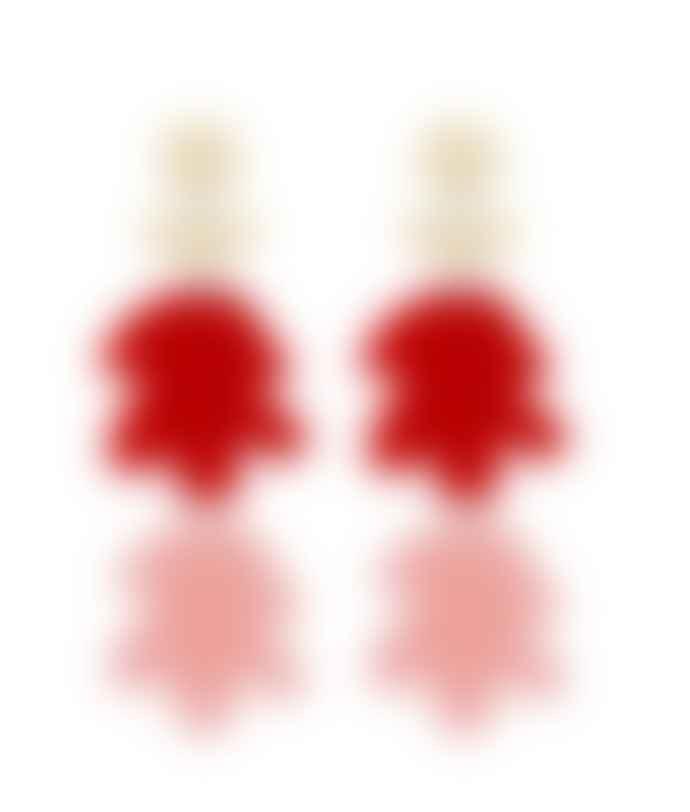 Orella Jewelry Fiore Earrings - Red/Pink
