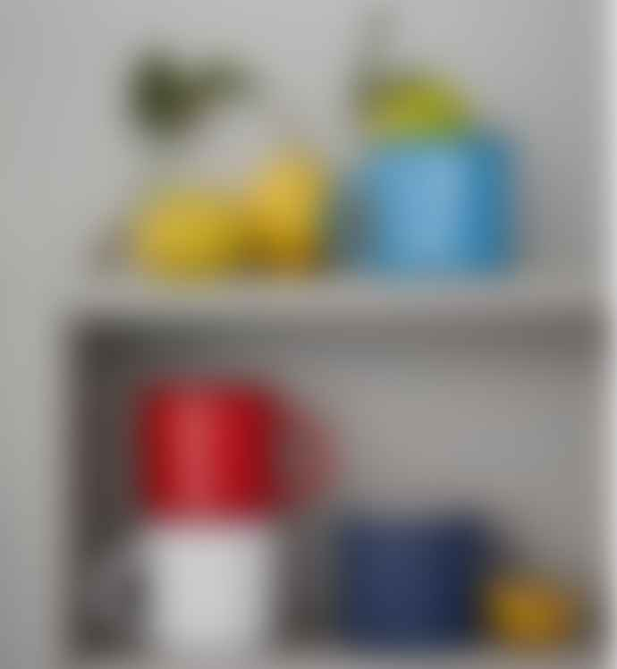 Canvas Homeware White with Blue Trim Tinware Vintage Inspired Mug