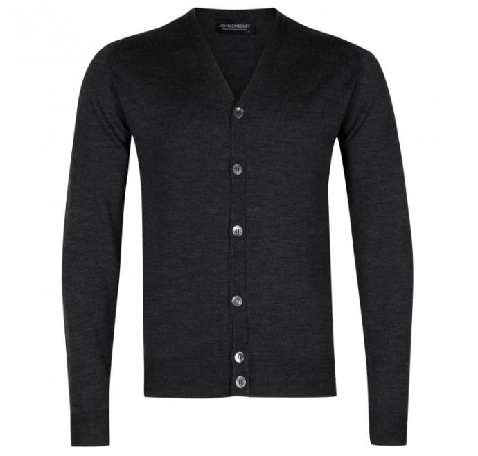 Charcoal All Sizes John Smedley Burley Mens Jumper Cardigan