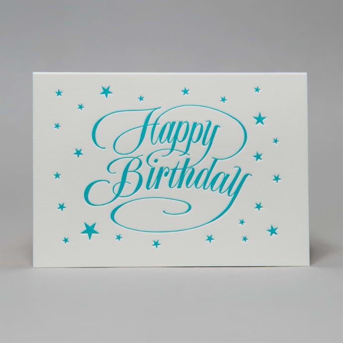 Trouva Buon Compleanno Con Carta Sfondo Stella In Blu Turchese