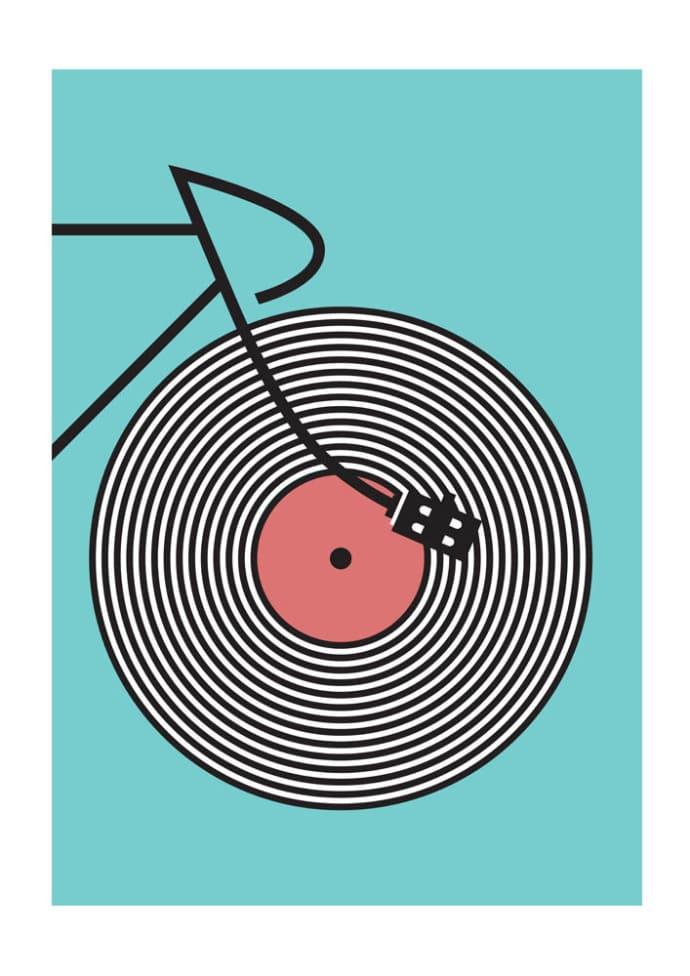 East End Prints Track Cyclist Vinyl Record Wheel A1 Framed Print