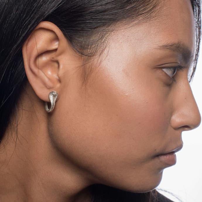 b3822766f Zoe and Morgan Silver Mini Cobra Hoop Earrings