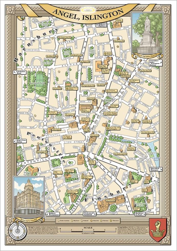 Map Of North London Uk.Trouva London Borough Of Angel Illustrated Map