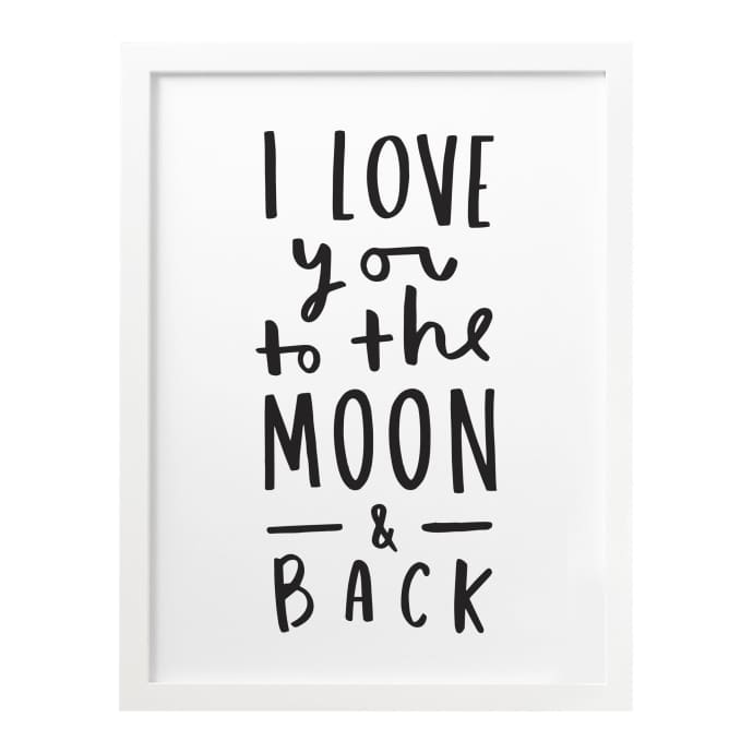 Anniversary Gift by brie I Love You to the Moon and Back Print
