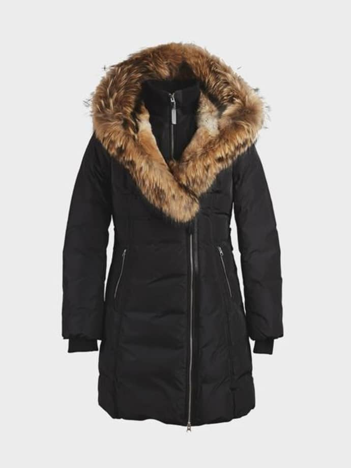 super popolare 2142f c5ba0 Mackage Black Trish Mid Length Down With Fur Jacket