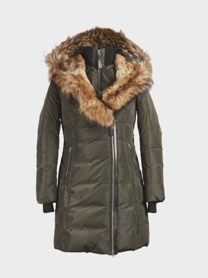 Trouva Green Army Trish Mid Length Down With Fur Jacket