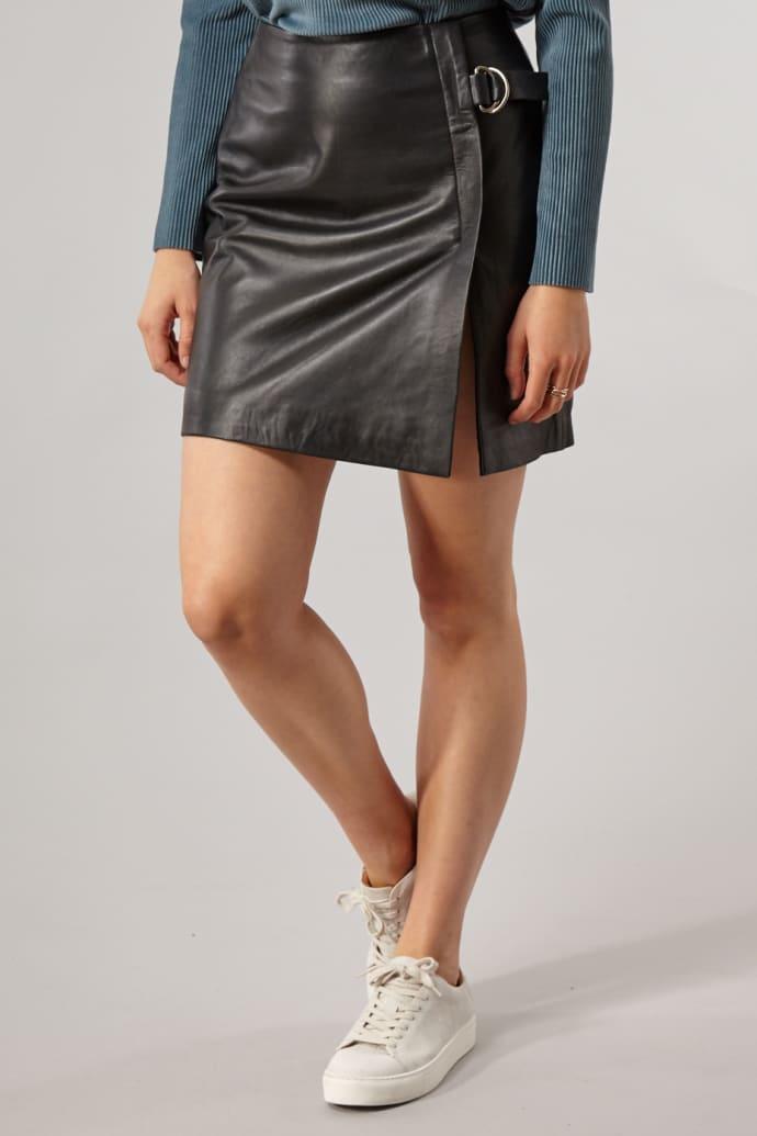 8b7ce9be2f Trouva: Black Dove Leather Skirt
