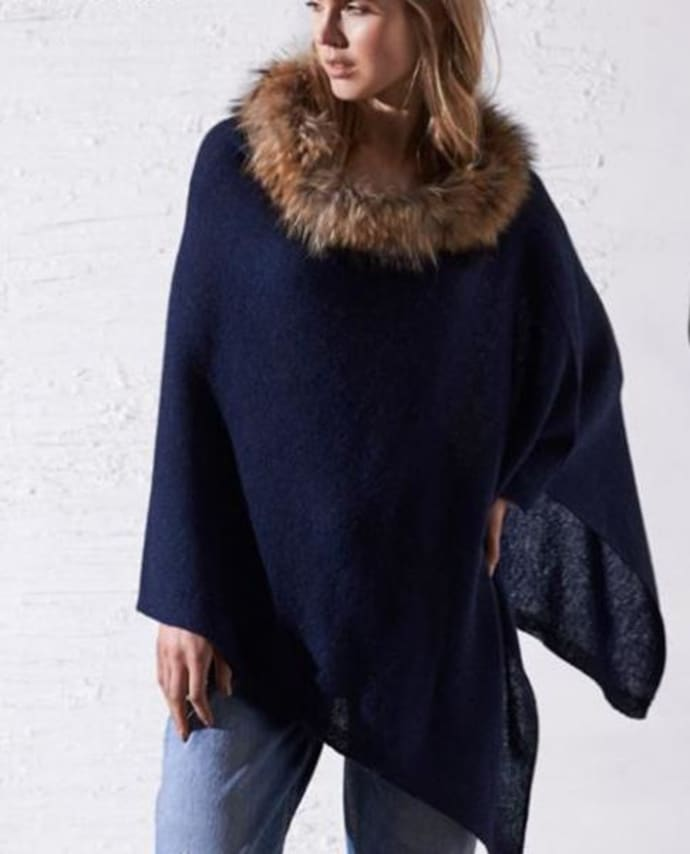 4475fd027 Trouva: Navy Cashmere Mini Fur Poncho