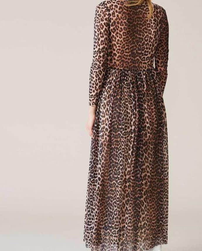 cc360b0d9d Trouva  Leopard Print Tilden Mesh Maxi Dress