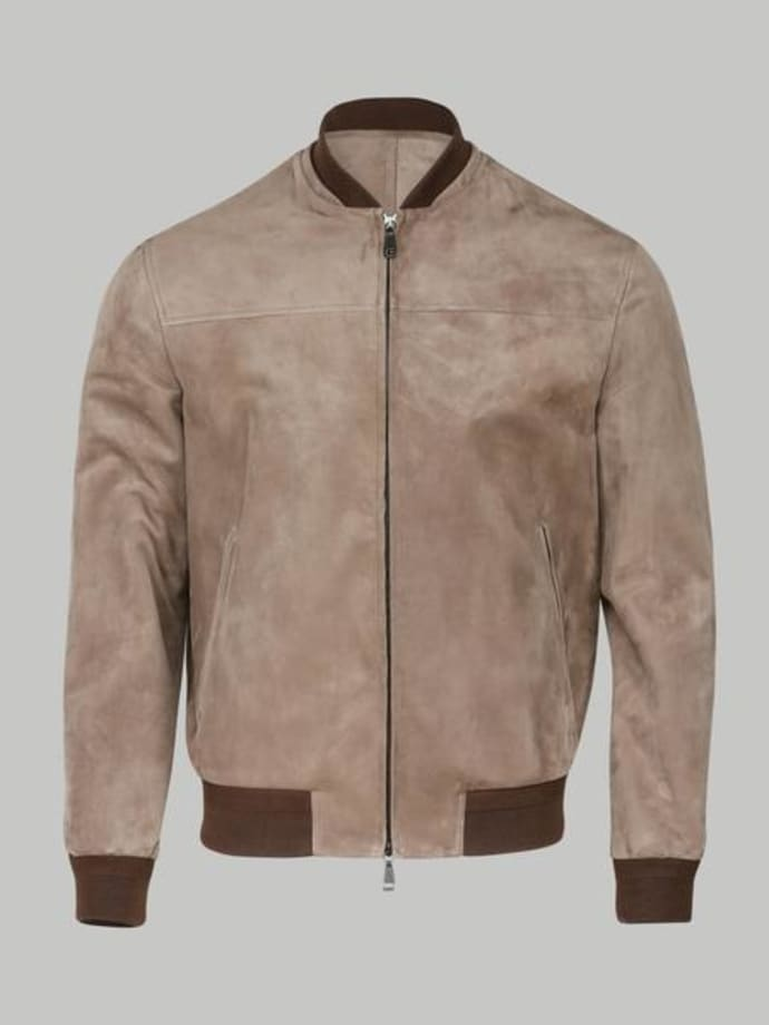 info for f56ec 9e99d Brioni Brown Suede Bomber Jacket