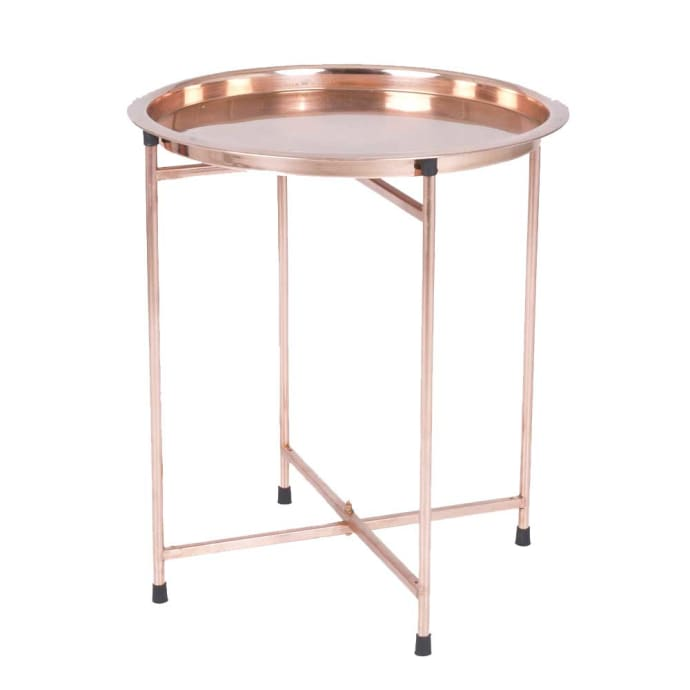 Bahne Bh Burnished Copper Style Folding Serving Tray Table Size 53x47 Cm
