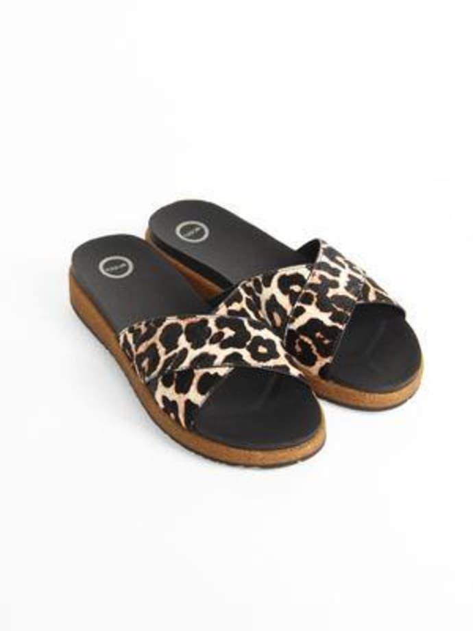 f6989dd9b177 Trouva  Leopard Print Liva Pony Sandals