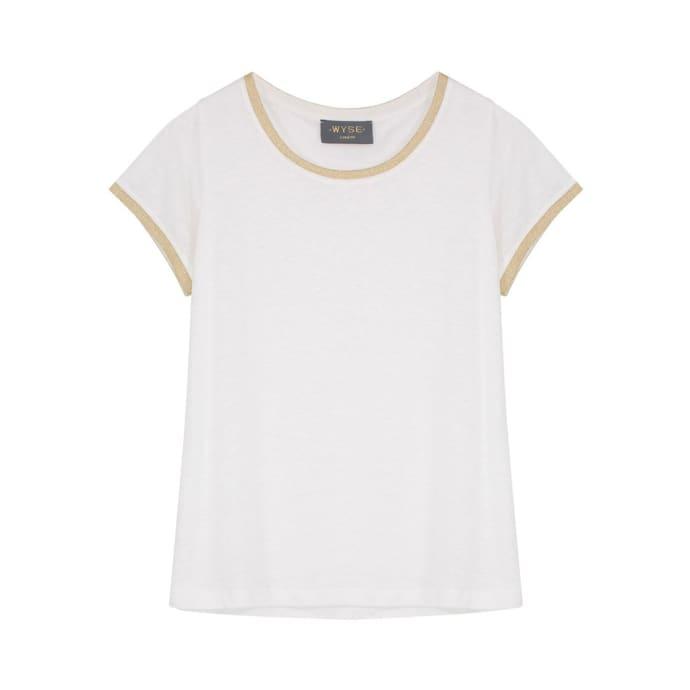 7a3aec541 Wyse Lily Linen Lurex Trim - Ivory / Gold T-Shirt