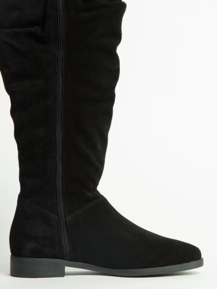 última selección de 2019 pero no vulgar estilo limitado Tamaris Black Suede Knee Boots