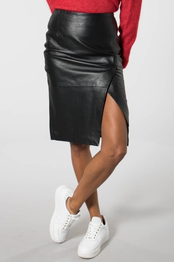 c4f3a25227 Trouva: Black Faria Long Leather Skirt