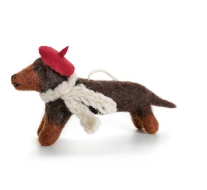 Trouva Sausage Dog With Hat Christmas Decoration