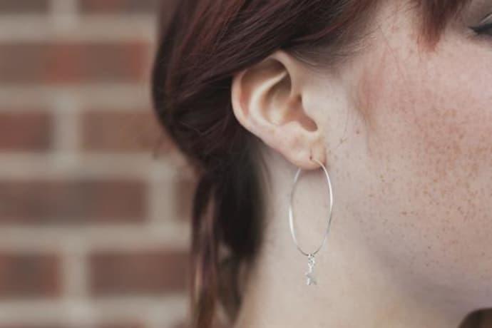 9206c6cfac ... Lily King Large Silver Tiny Star Hoop Earrings