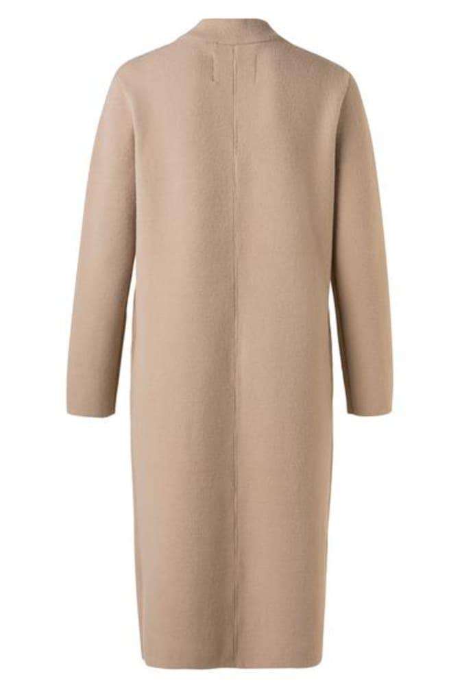 Yaya Detailed Lapels Long Knitted Cardigan