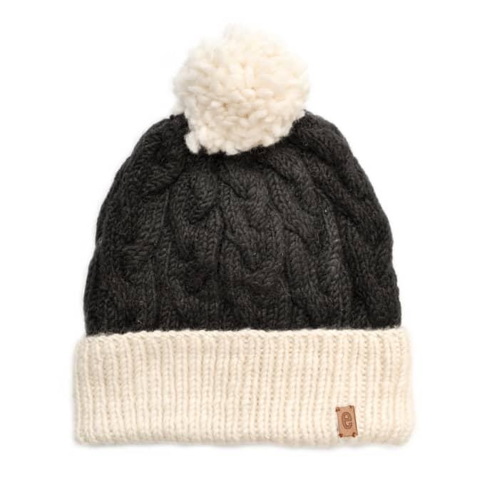 25fb1ce8 Egos Copenhagen Black Handmade 100% Merino Wool Cable Knit Hat