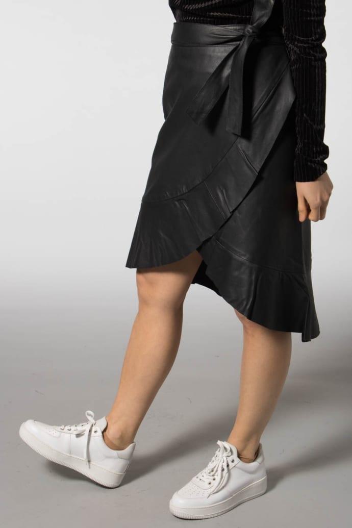 d7d1e4460c Trouva: Black Lara MW Ruffle Wrap Leather Skirt