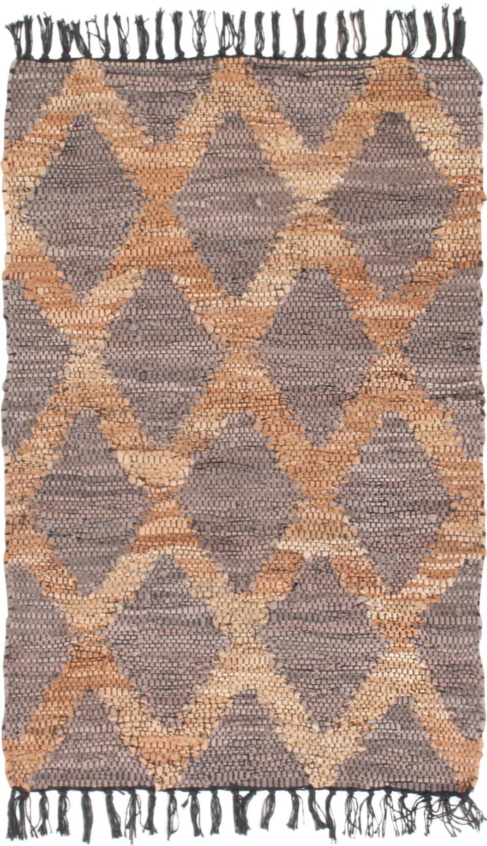 Trouva: Grey And Beige Recycled Leather Rug