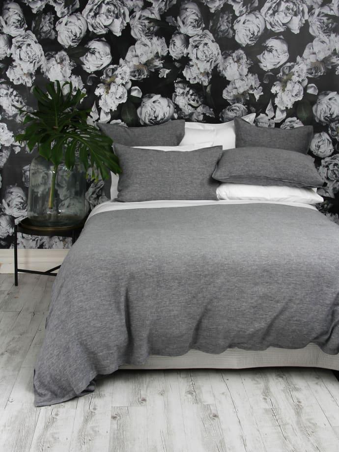 Trouva Double Charcoal Chambray Linen Duvet Cover Set