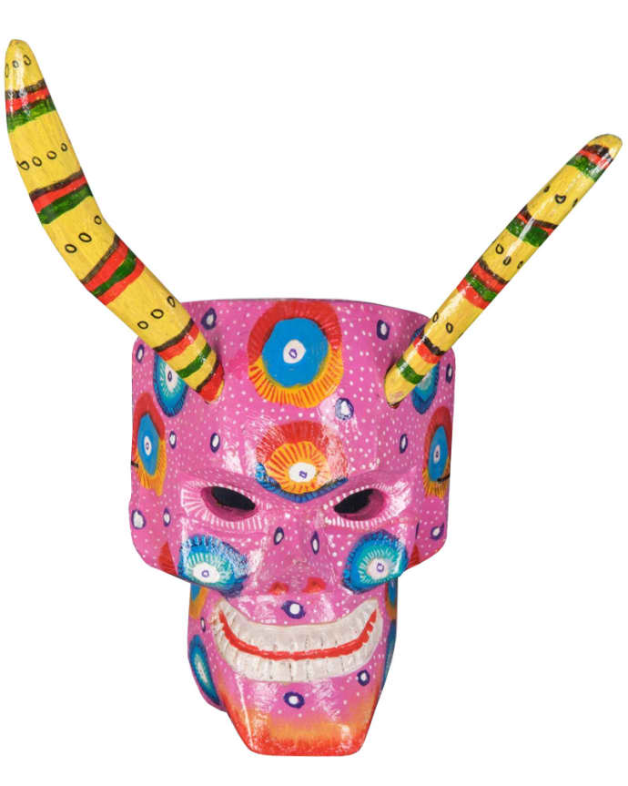 Hand Painted Day Of The Dead Wooden Skull Mask