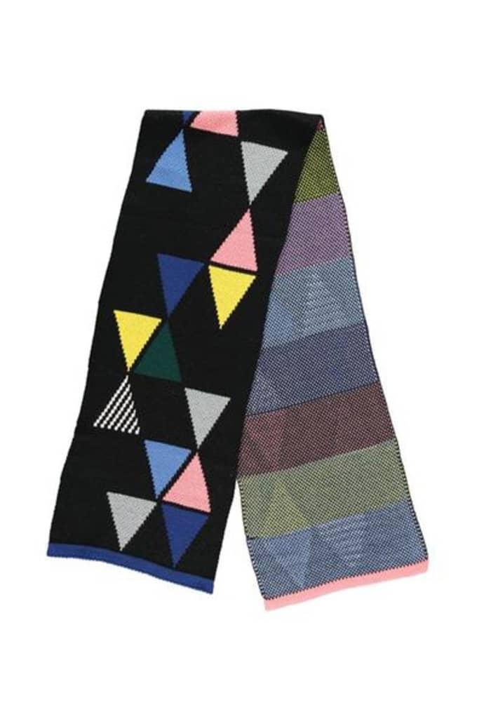Sciarpa triangolare da donna con pompon Nero nero