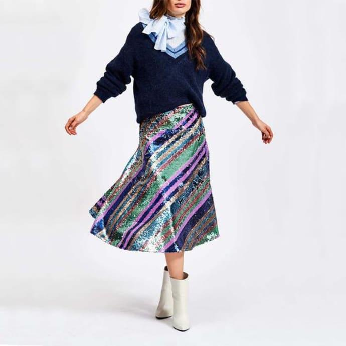 ee0909c6618a Essentiel Antwerp Salute Striped Sequin Skirt