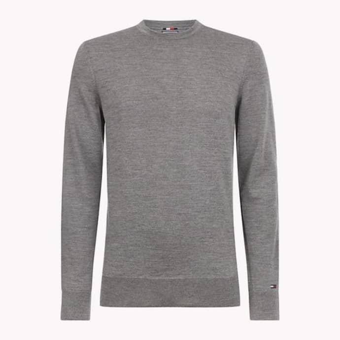 9d9bc405a2cb19 Trouva: Grauer, runder Pullover aus Wolle mit Rundhalsausschnitt
