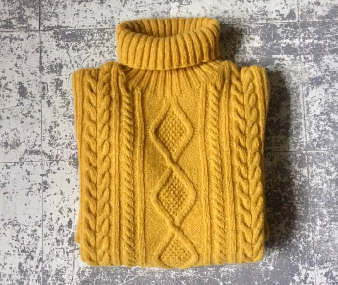 e3ab12d68b07c4 Trouva: Ochre Mens Lambswool Cable Knit Jumper