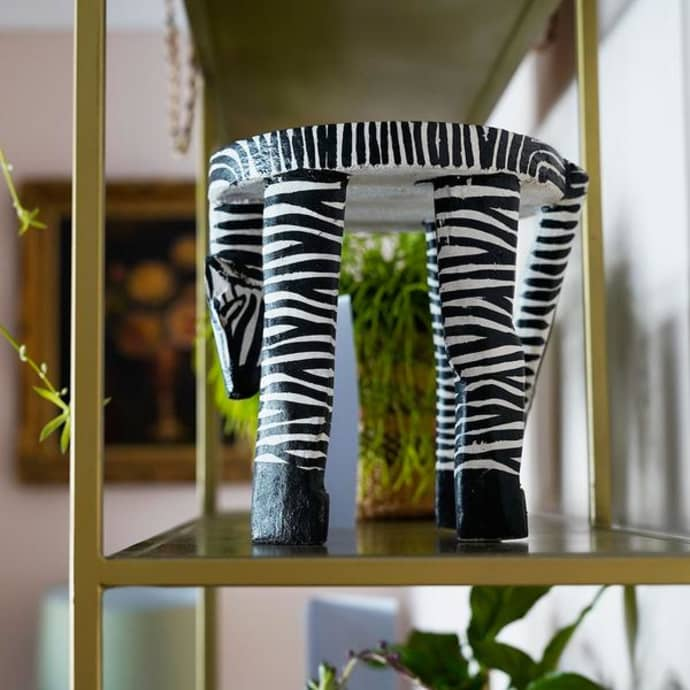 Brilliant Artisans Adventurers Small Wooden Zebra Hand Carved Painted Stool Pot Stand Squirreltailoven Fun Painted Chair Ideas Images Squirreltailovenorg