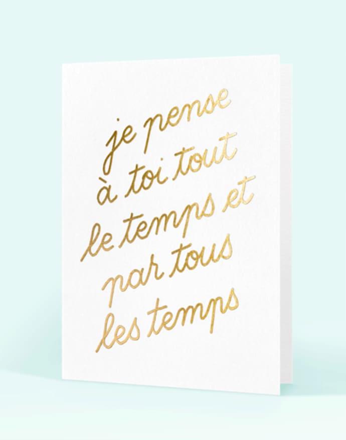 Letter Press De Paris Card Je Pense A Toi