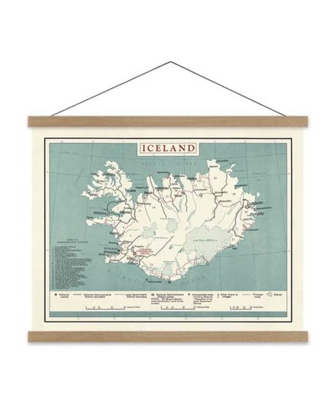 Karte Island Drucken.Dybdahl Map Of Iceland Print