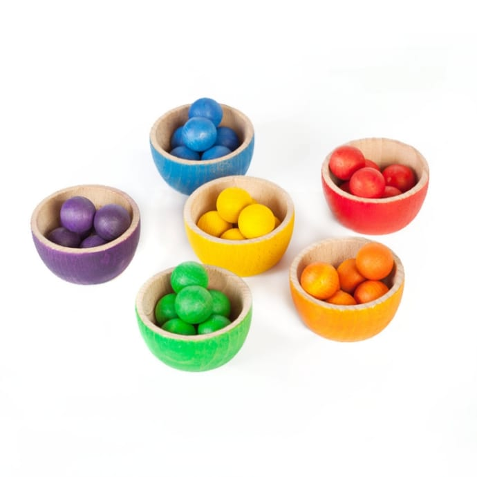 Joguines Grapat Wooden Bowls And Marbles Toy