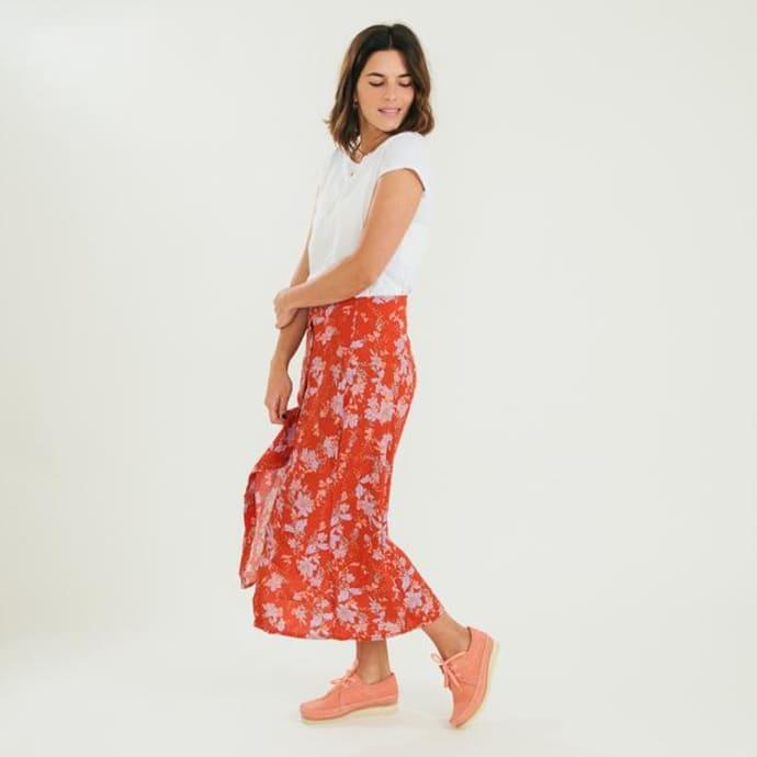 ecf0047970 Free People Rust Retro Love Floral Midi Skirt