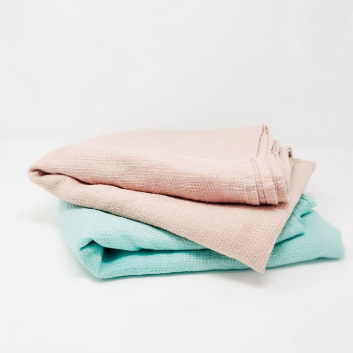 Pale And Interesting Lithuanian Stone Washed Waffle Weave Bath Towels