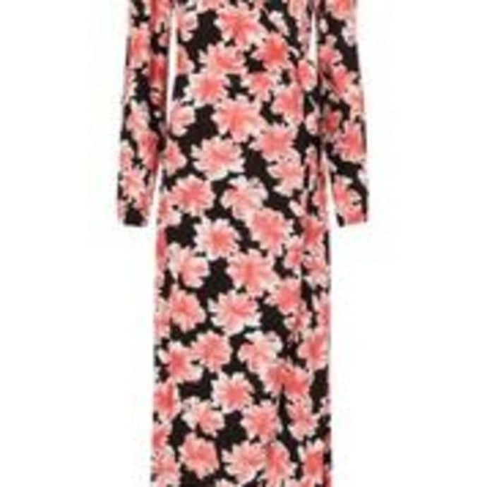 3434d5fdcea5 Trouva: Black Sahara Pink Desert Flower Natasja Midi Wrap Dress