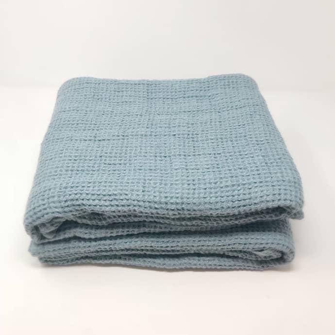 Linenme Lithuanian Chunky Waffle Weave Bath Towel Blue