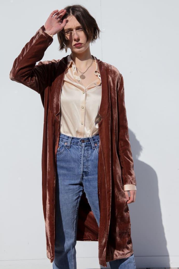 Trouva Maxi Velvet Dress Coat