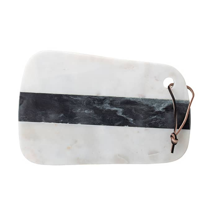 Trouva Luxe Marble Cutting Board With Leather Handle