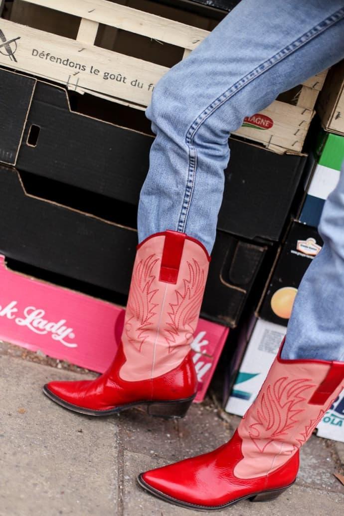 guapo gama muy codiciada de buena reputación Portamento Donna Pink Red Cowboy Boots